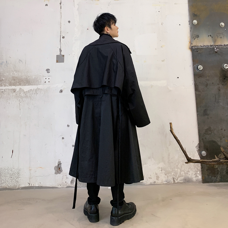 Men Vintage Bat Sleeve Loose Casual Long Jacket   Trench   Coat Male Retro Streetwear Hip Hop Belt Coat Windbreaker Overcoat