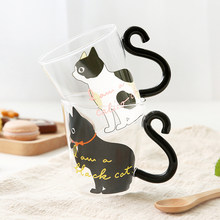 cute water bottle for girls kawaii Cat transparent glass cup, personalized heat-resistant microwaveable cat claw cup(China)
