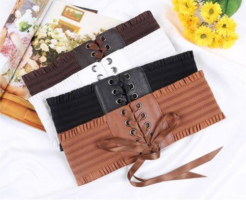 Women Ladies Soft PU Leather Wrap Around Tie Corset Cinch Waist Wide Dress Belt Cummerbunds