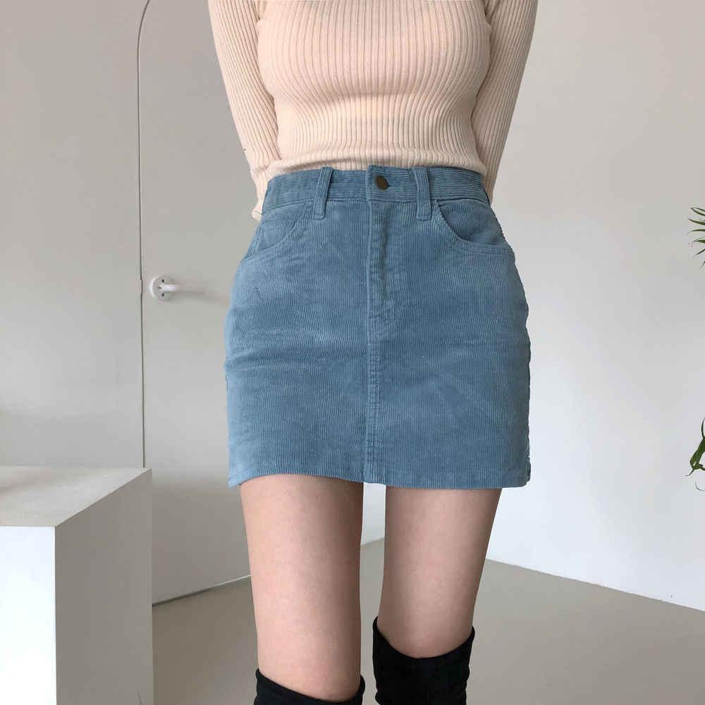 Alien Kitty 2020 nouvelle mode Mini jupes femmes Vintage velours côtelé fendu bleu Sexy Clubwear taille haute crayon moulante jupe femme