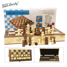Magnetic Wooden Chess Set Travel Game 32 Pieces with Foldable Chessboard Board Chessmen I61