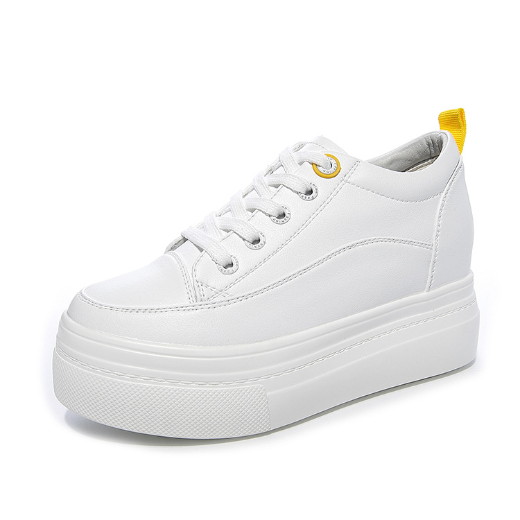 Genuine Leather Women's White Shoes Platform Sneakers 2020 Spring Autumn Fashion Women Black Wedge Sneakers Casual Shoes Woman