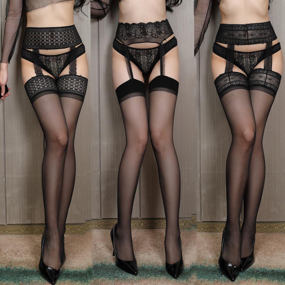 Erotic Costume For Sex Stockings Women Sexy Thigh High Fishnet Long Socks Sex Belt Standard Over Knee Socks Sexy Lingerie