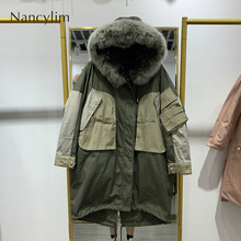 купить Real Fur Coat Natural Fox Fur Collar 2019 Winter Jacket Women Loose Long White Duck Down Thick Warm Down Parka Hooded Waterproof дешево