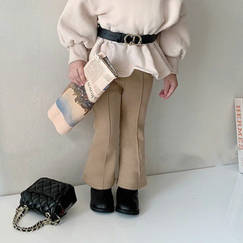 2021 Autumn Winter New Arrival Girls Fashion Flare Pants Kids Warm Fleece Pants 1