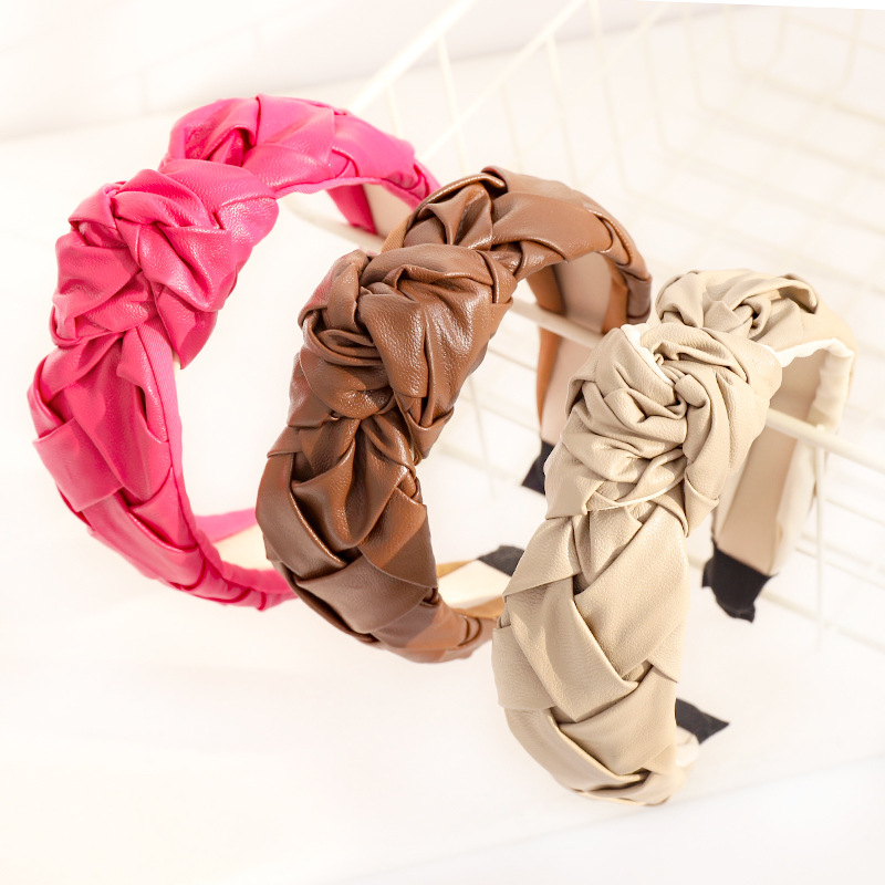 2021 Cross Knot Head Band For Women Leather Girls Twist Hairbands Solid Holder Hair Lady Party Headwarp Hair Accessories