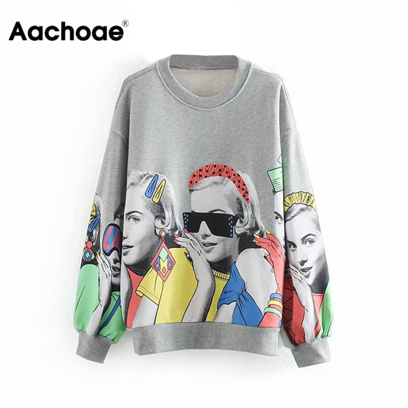 Fashion Character Print Sweatshirt Women Loose O Neck Casual Pullover Female Long Sleeve Hoodies Ladies Sweatshirts Gray Top