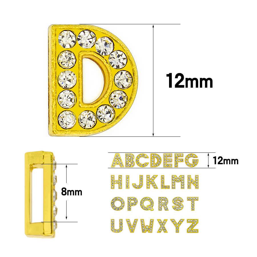 1pc A-Z 8 ミリメートルゴールドカラーのラインストーンスライド手紙フィット Diy リストバンド & ブレスレット & 首輪ジュエリー作る