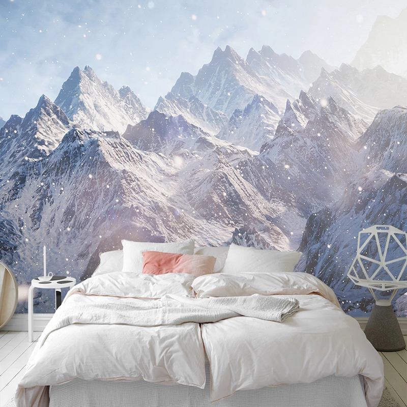 Custom 3D Snow Mountain Landscape Photo Wallpaper Wall Covering Mural For Living Room Bedroom Background Home Decor Wallpaper