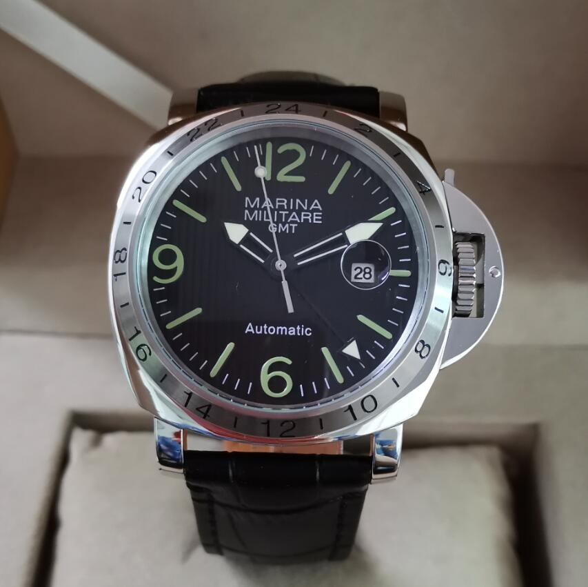 44mm Large Dial Stainless Steel Watch Automatic Movement GMT Men's Watch Stripe Black Dial Green Number Green Luminous