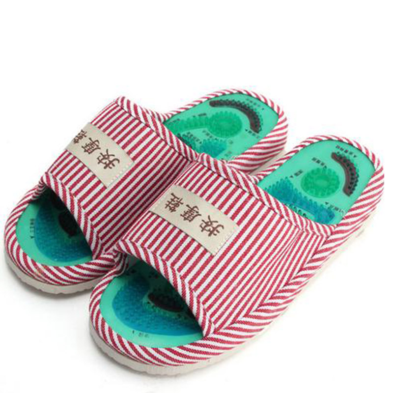 Summer Style Foot Acupoint Massage Shoes Foot Health Care Magnet Therapy Slippers Striped Pattern Indoor Shoes For Women & Men