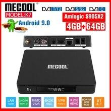 MECOOL decodificador Dispositivo de TV inteligente K7, Android 9,0, DVB S2/T, DVB T2, 4G, DDR4 + 64G, Amlogic S905X2, Bluetooth 4,1, 2,4/5G, WIFI, Youtube