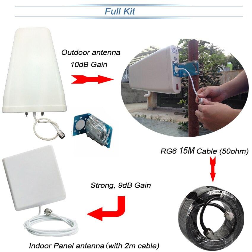 Lintratek 2g 3g 4g Tri banda de señal de 900 de 1800, 2100 GSM WCDMA UMTS y LTE repetidor de celular amplificador Triple banda de señal de teléfono celular de la telefonía móvil repetidor de señal de juego de la antena - 6