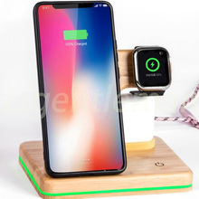multi function wooden  wireless charger Fast charging For Apple iPhone 8 Plus X Wireless Phone Charger For Samsung S6 S7 S9 S8