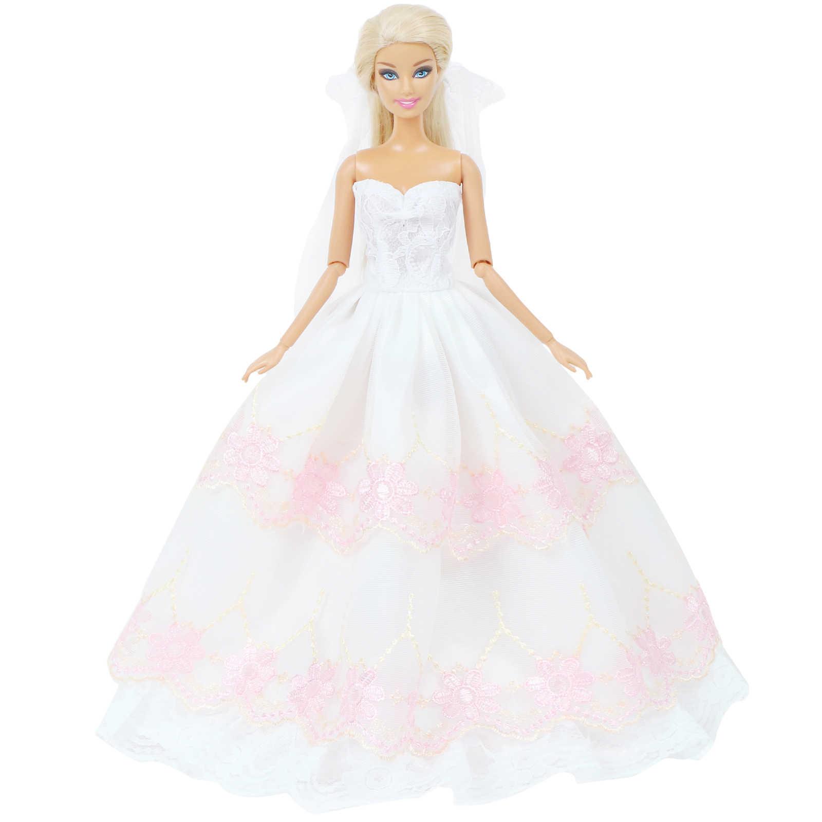 高品質人形ドレス刺繍ウェディングブライダル着用ガウン + セクシーなレースのベールの服バービー人形 12 ''人形アクセサリー