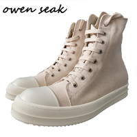 Owen Seak Men Casual Canvas Shoes High TOP Ankle Lace Up Luxury Trainers Sneakers Boots Brand Zip Flats Shoes Big Size