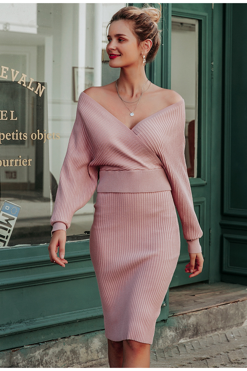 Simplee Sexy v-neck women knitted skirt suits Autumn winter batwing sleeve ladies suit Elegant party female sweater pink dress 7
