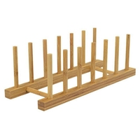 6 grades cozinha prato bandeja de armazenamento prateleira de bambu suporte de placa escorredor|Racks e suportes| |  -