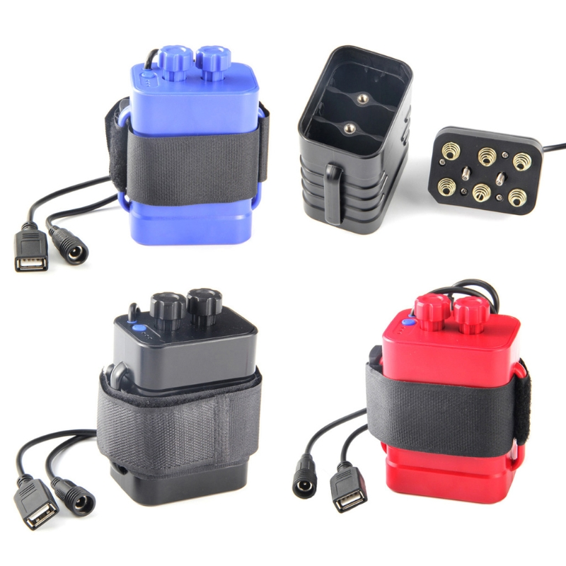 DC 8.4V USB 5V 6x <font><b>18650</b></font> Battery Storage Case <font><b>Box</b></font> For <font><b>Bike</b></font> LED Light Cell Phone - L060 New hot image