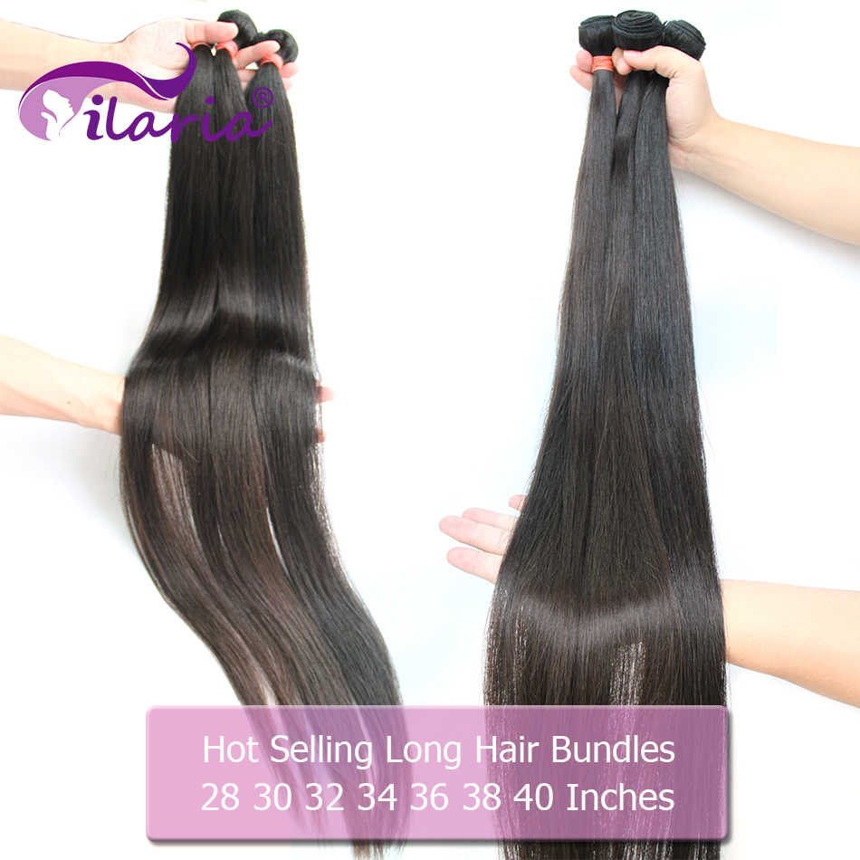 ILARIA 30 32 34 36 38 40 inch Bundles Straight 100% Human Brazilian Hair Weave Bundles Remy Hair Extensions 3 4 Bundles