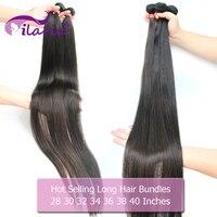 ILARIA 30 32 34, 36, 38, 40 дюймов пучки волос прямые 100% человеческие бразильские волосы плетение пучки волосы Remy для наращивания 3 4 Связки