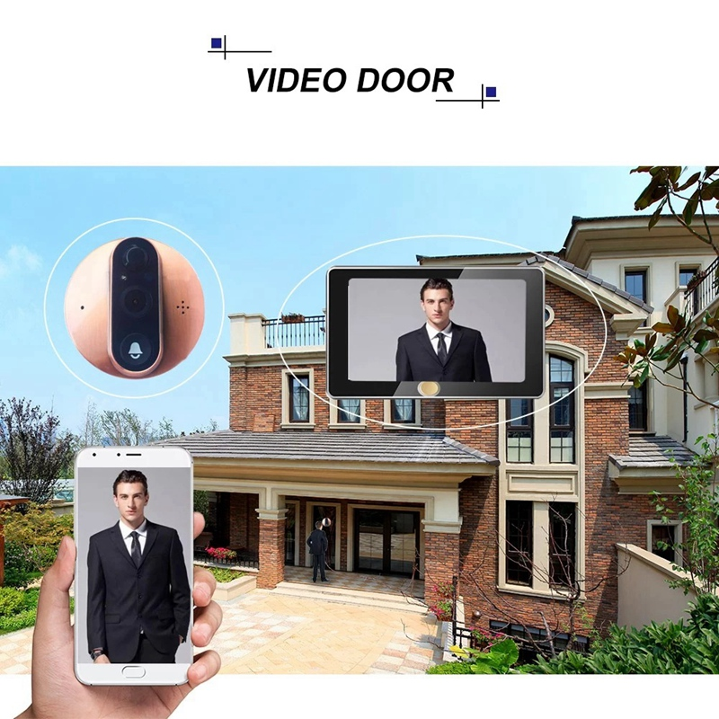 4.3 inch WIFI Smart LCD Digital Peephole Door Camera Viewer HD Monitor with Night Vision PIR Motion Detection APP Remote Control