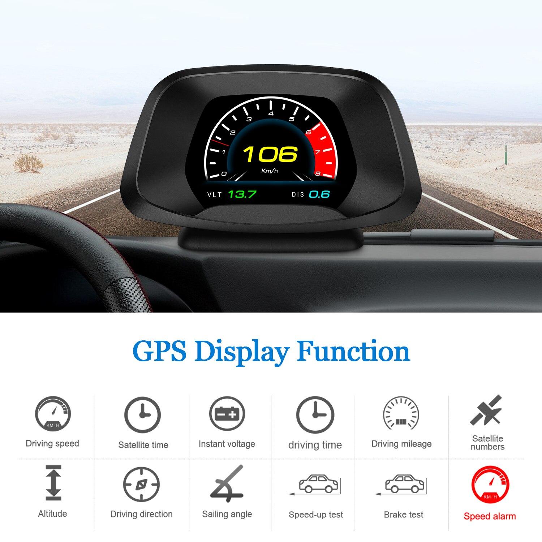 2020 hud p19 display obd2 obd2 + gps, para-brisa, velocímetro, detector de consumo de óleo, interface 8