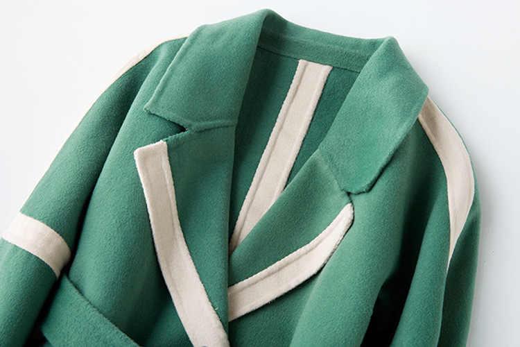 Elegante Herfst Vrouwen Jassen Winter Wollen Jas Vrouwelijke Lange Wollen Jas Mode Kleding 2019 Vintage Riem Overjas 810