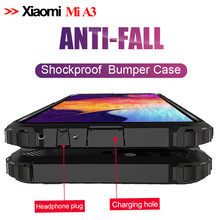 Luxury Armor Shockproof Case On The For Xiaomi Mi A3 cc9e Silicone Bumper Cover MiA3 Glass + xiaomi mi a3 phone