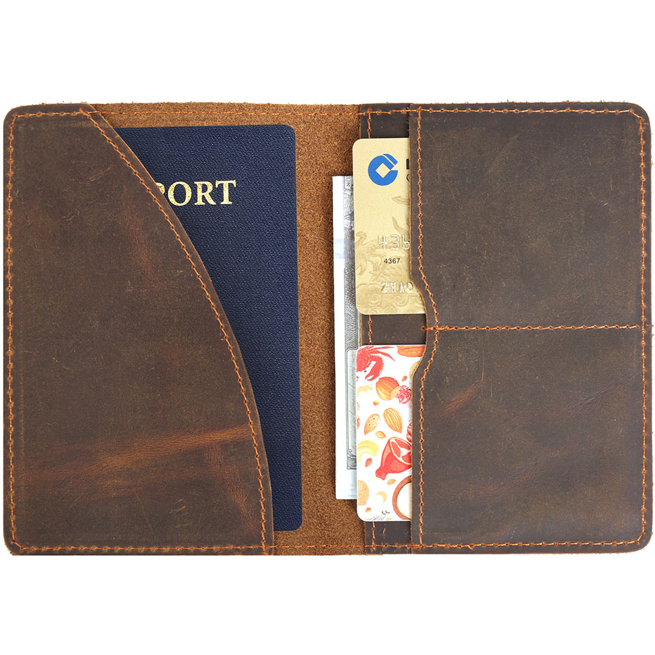 New Fashion Passport Holder Men Retro Genuine Leather Passport Cover Wallet Case Slim Document Credit Card Multi-Card Storage