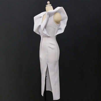White Dresses Party Sexy Deep V Neck High Waist Slit Bodycon Ruffles Backless Event Occassion Women Celebrate Evening Night Robe 6