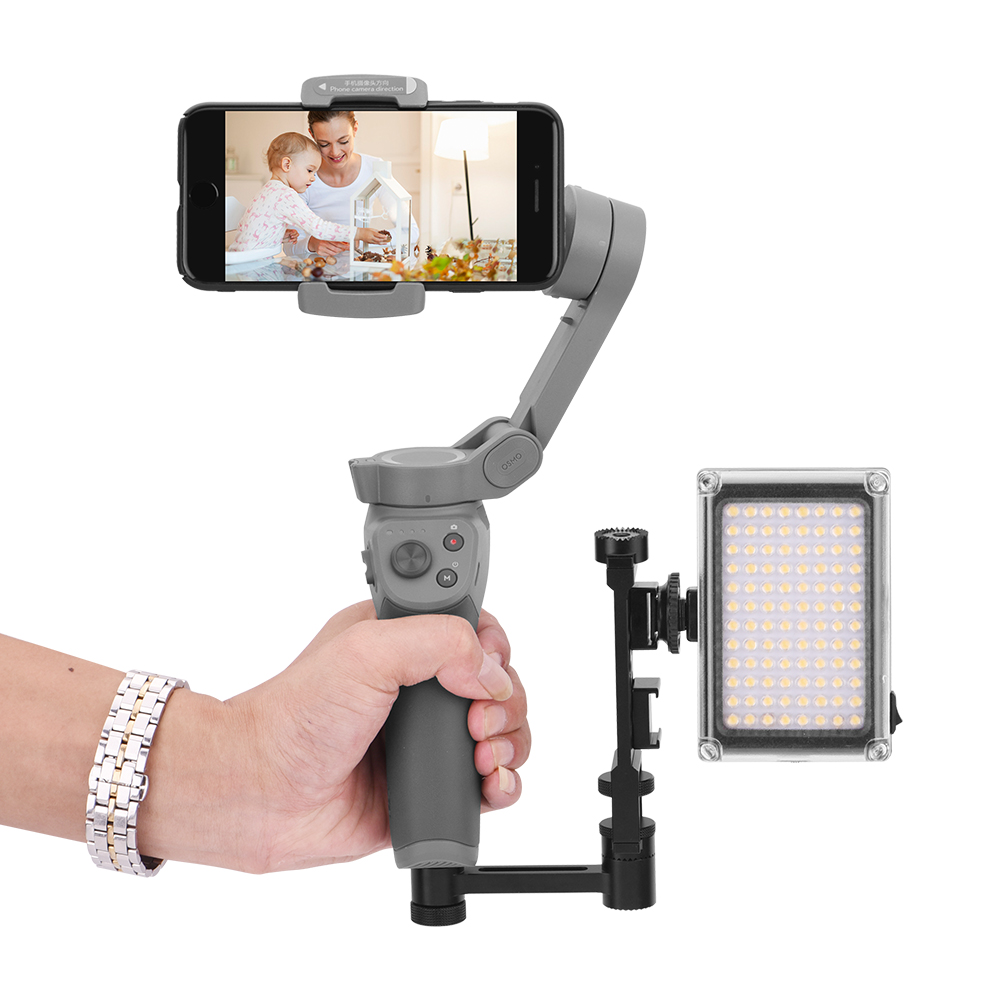 Microphone Flash LED Video Light Monitor Easy Hood Straight Flash Extension Bracket 1//4 inch Screw Cold Shoe Mount with Cell Phone Tripod Clip Adapter for DSLR Cameras Camera Accessories
