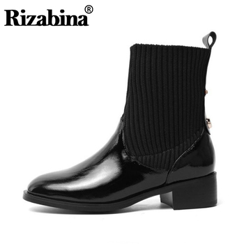 RizaBina Women Real Leather Slip On Winter Ankle Boots Knitting Comfortable Black Short Boots Daily Work Botas Size 34-43