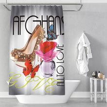 Famous brand perfume background digital printing bathroom shower curtain without punching waterproof factory direct sales