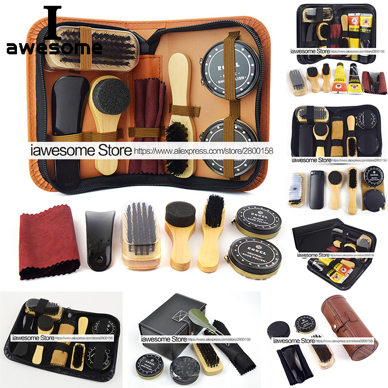 Professional Shoes Care Kit Portable For Boots Sneakers Cleaning Set Polish Brush Horn Shine Polishing Tool For Leather Shoes