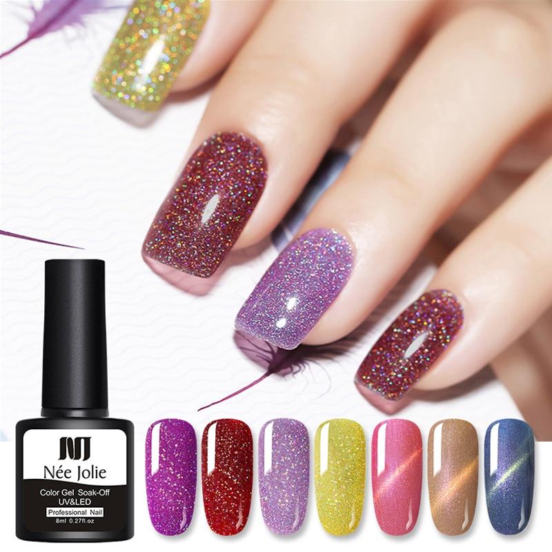 NEE JOLIE 8ml Cat Eye Gel Blinking Nail Polish Soak Off Nail Art Gel Varnish Magnetic Nail Gel Varnish Sparkling LED UV Gel