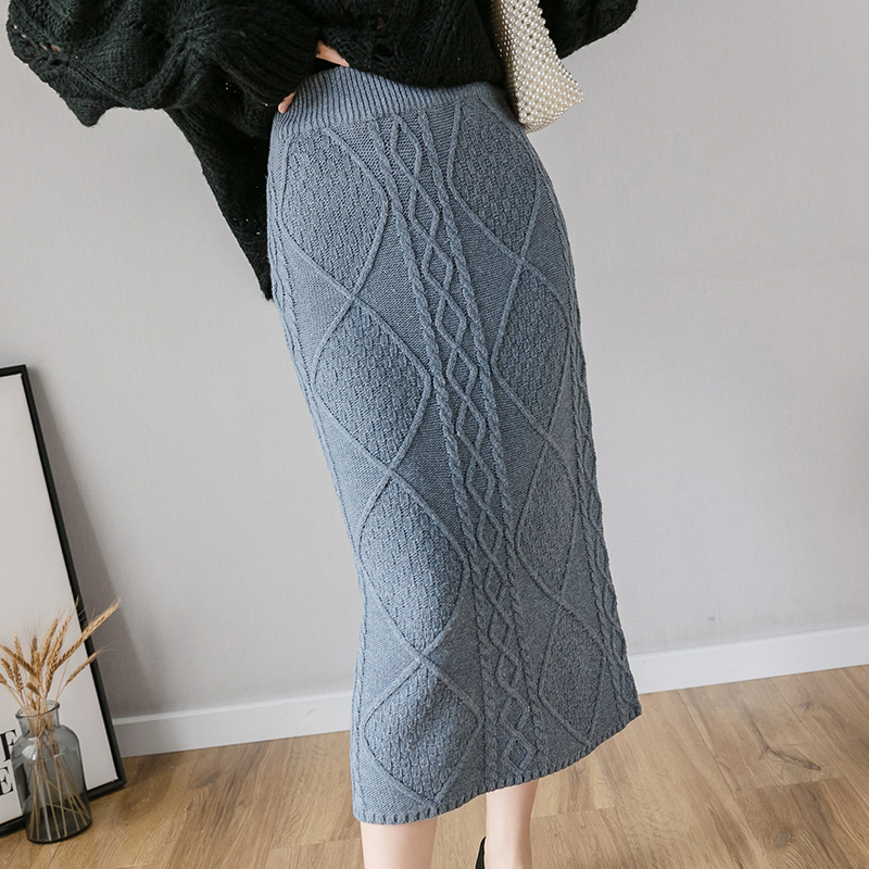Gkfnmt 60-80CM Elastic Women Skirts Autumn Winter Warm Knitted Straight Skirt Ribbed Geometric Pattern Mid-Long Skirt Black