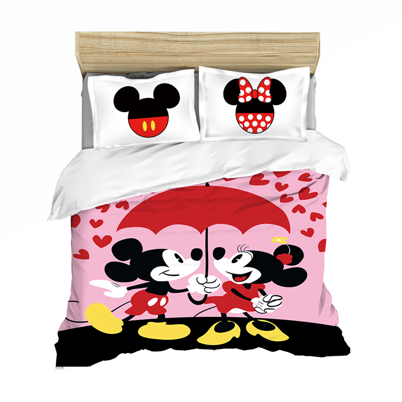 Couple Mickey Mouse  Bedding Set Lovely Couple Queen King Size Bed St Children Duvet Cover Pillow Cases Comforter Bedding Sets