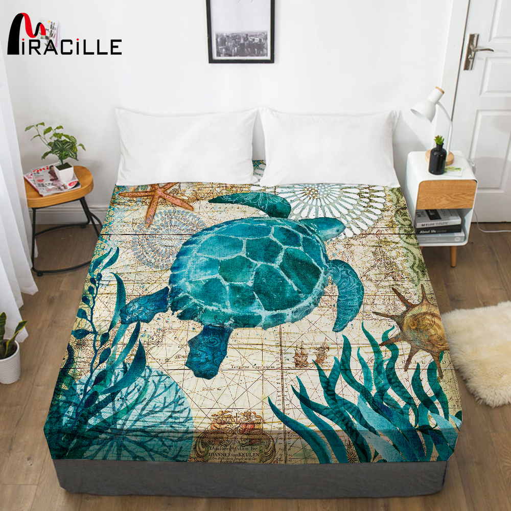 Miracille Ocean Life Bed Sheet With Elastic Turtle Design Mattress Cover Hypoallergenic Mattress Protector Anti-mite