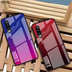 Роскошный чехол из закаленного стекла для Huawei P20 P30 P40 Lite Pro Mate 10 20 30 Honor 20i Nova 5t 7i мобильного телефона градиентные цвета p20pro p30pro p40pro aurora красочны...