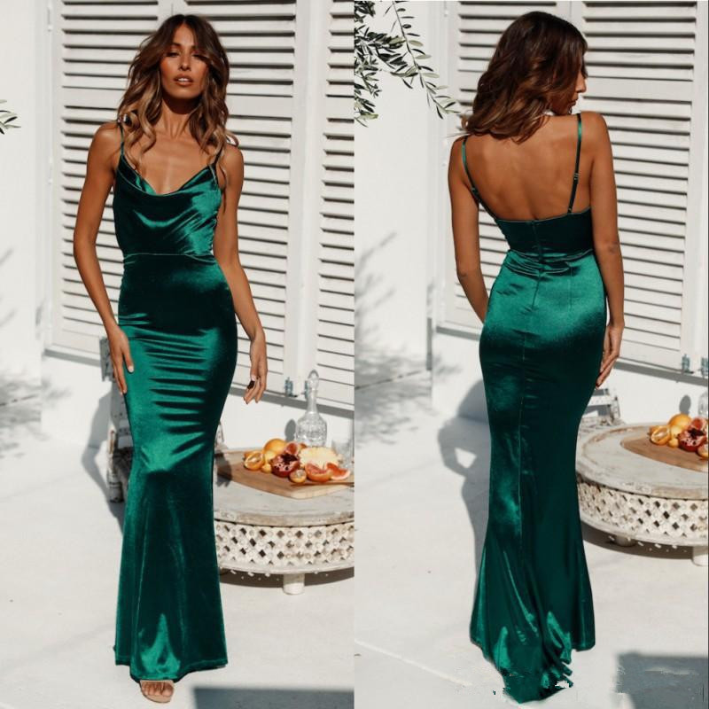 Sexy Open Back Spaghetti Mermaid Dark Green   Prom     Dress   Long Sheath Cheap Evening Party Gowns Custom Made   prom     dresses   2020