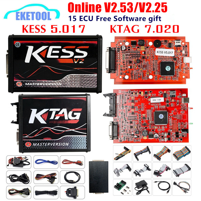 EU Version KESS 5.017 V2.53 4LED KTAG V7.020 V2.25 Red PCB Online KESS 5.017 V2.53 No Token K TAG 7.020 OBD2 ECU Chip Programmer