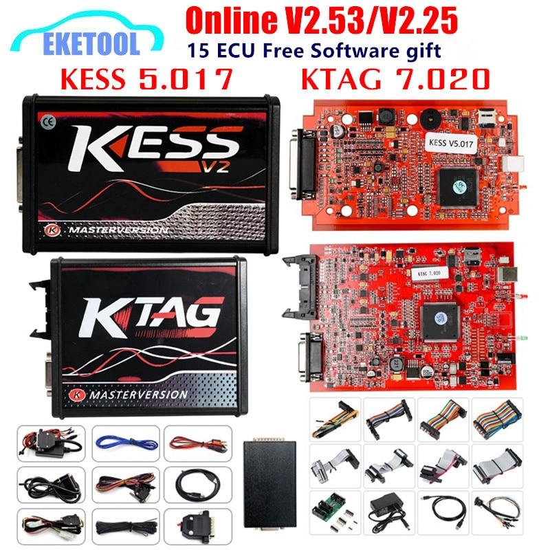 EU Version KESS 5.017 V2.53 4LED KTAG V7.020 V2.25 Red PCB Online KESS 5.017 V2.53 No Token K TAG 7.020 OBD2 ECU Chip Programmer