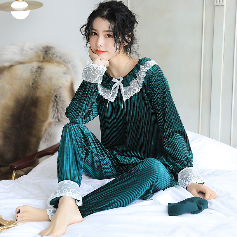 New Style Suede Autumn & Winter Pajamas Women's Two-Piece Set Casual Sweet Lace Edge Luxury Warm Homewear Set