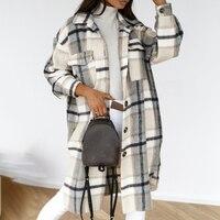 2021 Winter Überprüft Frauen Jacke Unten Mantel Warm Plaid Lange Mantel Übergroßen Dicken Woll Blends Retro Weibliche Casual Streetwear