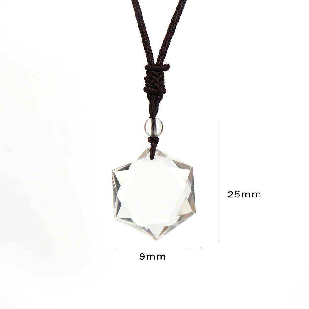 Jasny kryształ wisiorek naszyjnik z łbem sześciokątnym gwiazda szczęście sznur naszyjnika naszyjnik łańcuch kobiety mężczyźni elegancka biżuteria prezent