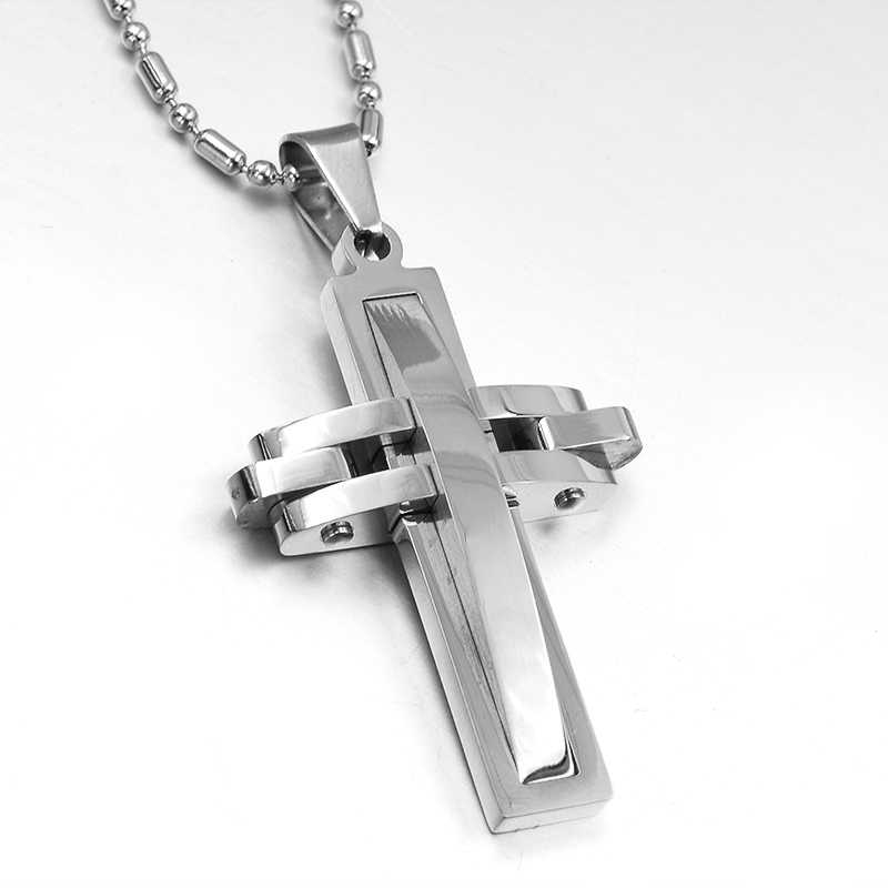 GOKADIMA bijoux,Fashion Metal 316l stainless steel Cross Pendant Necklace for men women Jewelry 2019 Wholesale WP313