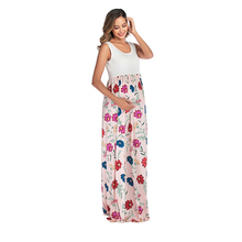 Hot Sale Maternity Photography Pregnancy Clothes Sleeveless Print Splice Dress Summer Hipster Pregnant