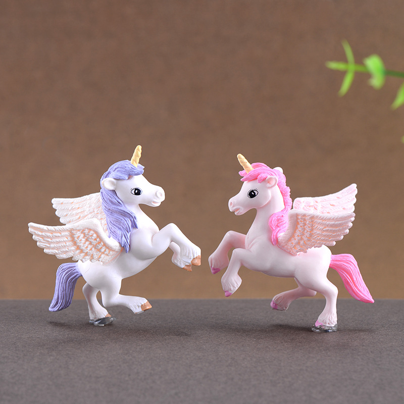 2pcs/set Cute Pegasus Unicorn Miniatures Figurines Fairy Garden Ornaments Craft Micro Landscape DIY Home Decoration Accessories
