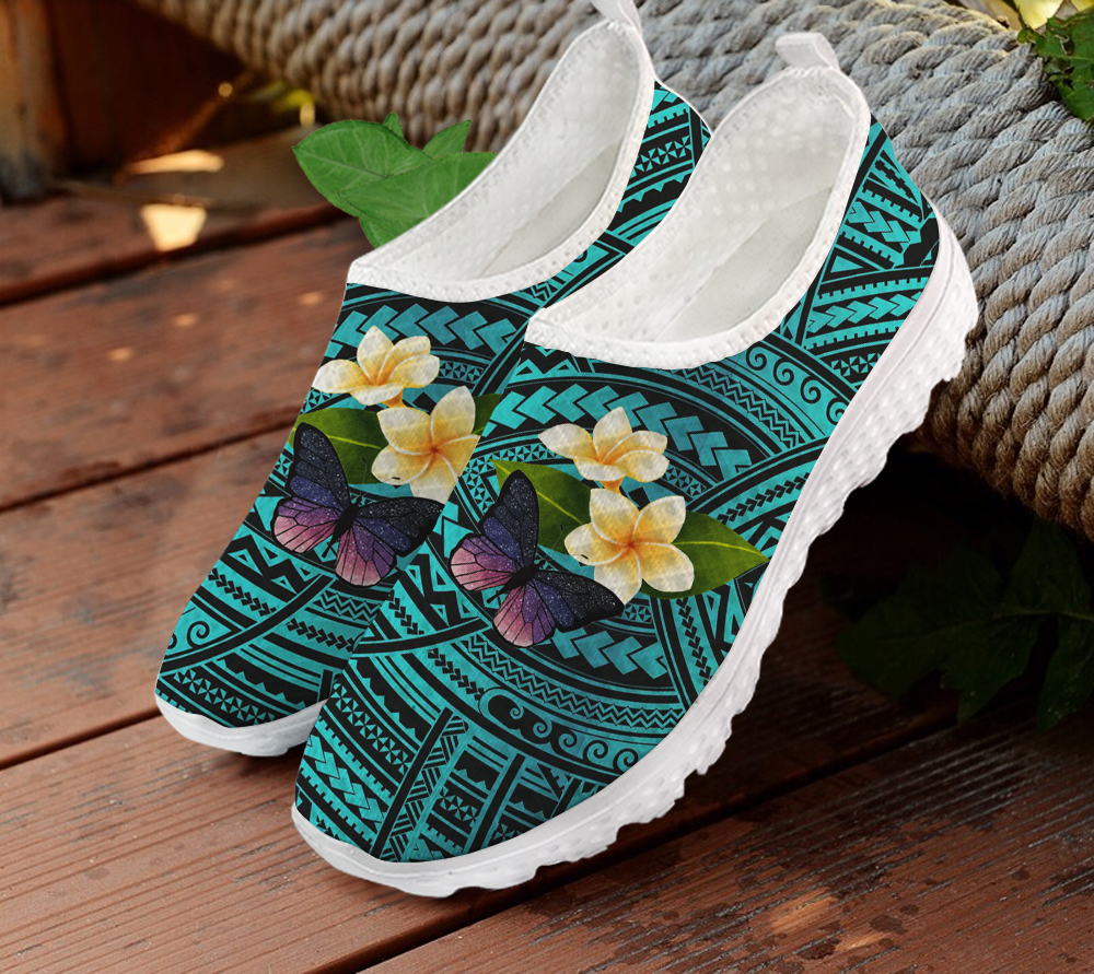 ELVISWORDS Women's Sneakers Flats Polynesian Ethnic Plumeria Butterfly Blue Summer/Autumn Ladies Air Mesh Light Loafers Shoes